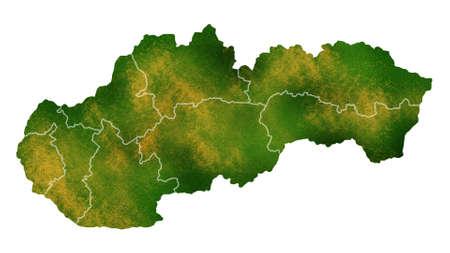 スロバキア地図国の場所、旅行、テクスチャや背景に詳細な可視化
