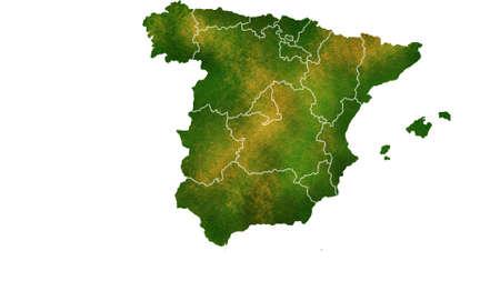 Spanje kaart gedetailleerde visualisatie voor land, reis, textuur en achtergrond Stockfoto