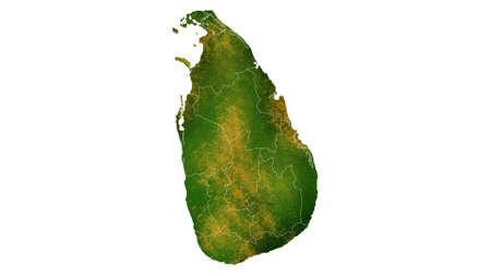 スリランカの国の場所、旅行、テクスチャや背景に詳細な可視化をマップします。