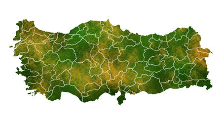 Turkey detailed map visualization for place,travel,texture and background