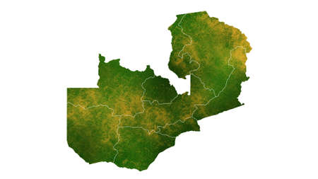 Zambia detailed map visualization for place,travel,texture and background