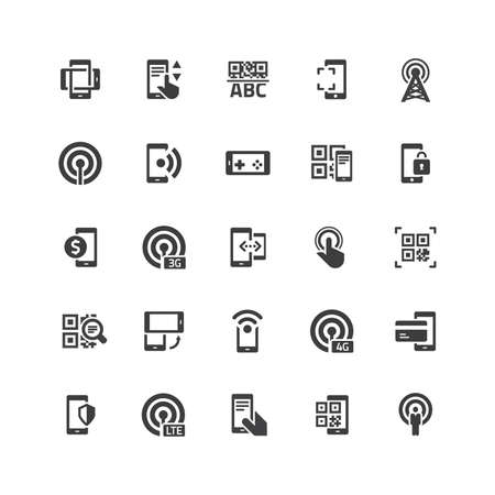 barcode scanning: Retina Mobile Icons Set Illustration
