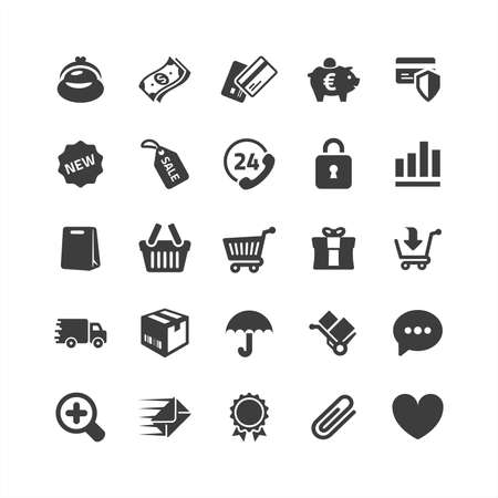 Icônes de commerce électronique rétine Set Vecteurs