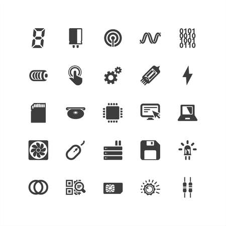 electronic components: Circuit Board Icons Set
