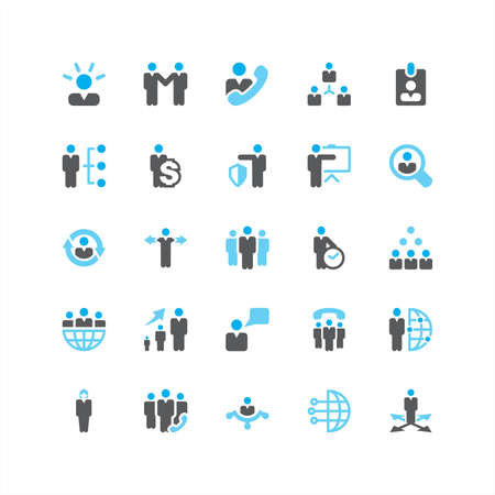 corporate hierarchy: Set di colore blu Business Icons