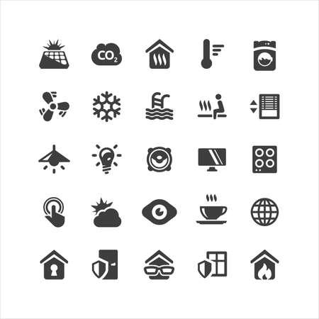 spotřebič: Sítnice Smarthome ikony set Ilustrace