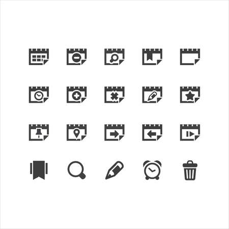 Retina Calendar Icons Set Illustration