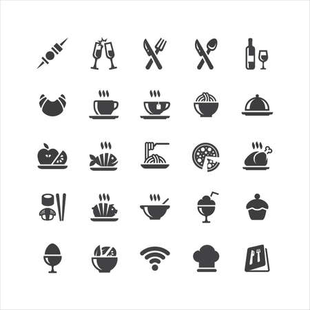 Retina restaurante Icons Set Ilustración de vector