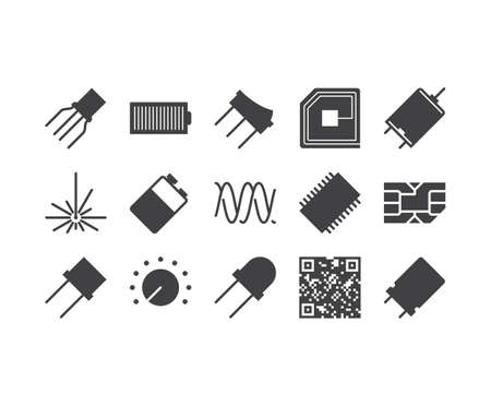 electronic: Circuit Diagram outline icons set Illustration