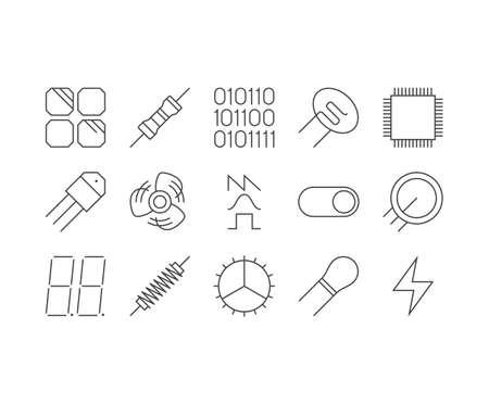 Circuit Diagram outline icons set Illustration