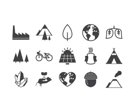 Eco outline icons set Illustration