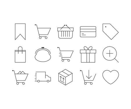 Ecommerce outline icons set Illustration