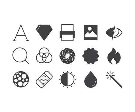 news flash: Art application outline icons set Illustration