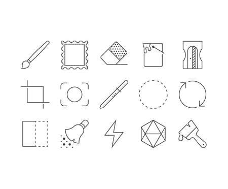 Art application outline icons set Illustration