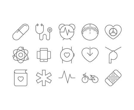 Smart health outline icons set
