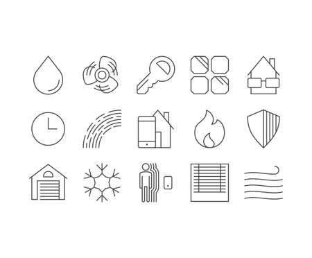 Smarthome outline icons set Illustration