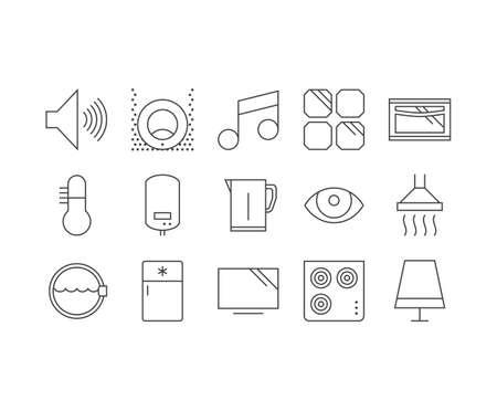 Smart home outline icons set