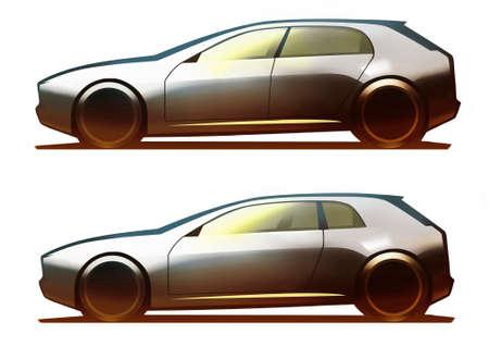 hatchback: Car Body 5-Door Hatchback and 3-Door Hatchback Stock Photo