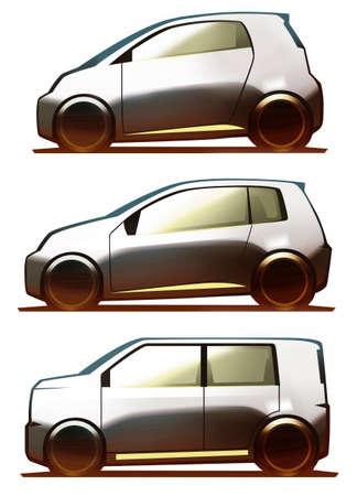 alumnos en clase: Car Body Microcar, City Car and Kei-Car Foto de archivo