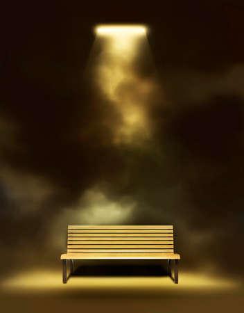 lightbeam: Bench Under The Lantern Front View