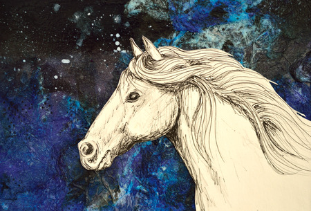 trotting: Original mixed media collage of a horse drawn in pencil and ink. Stock Photo