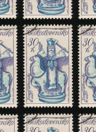 franked: CZECHOSLOVAKIA - CIRCA 1978: A used postage stamp printed in Czechoslovakia from the Slovak Ceramics issue, shows a blue and white ceramic horse and rider.