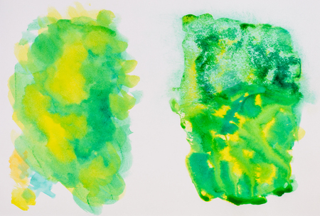 sketchbook: Sketchbook page, colour and texture exploring. Green and yellow. Stock Photo