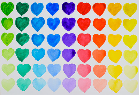 watercolour painting: A love of painting. Rainbow watercolour hearts in rows. Dark at top fading to light at bottom.