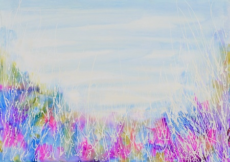 weeds: Abstract wild weeds and sky background. Original mixed media artwork in bright pastel shades.