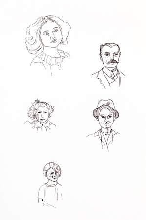line drawings: Original ink line drawings. Collection of vintage portraits. Hand drawn artwork.