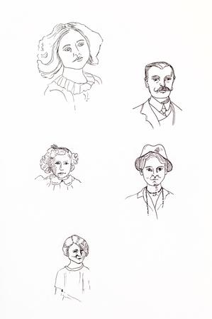 edwardian: Original ink line drawings. Collection of vintage portraits. Hand drawn artwork.