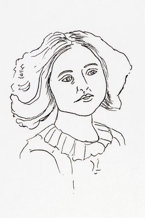 edwardian: Original ink line drawing. Portrait of an Edwardian young lady Hand drawn artwork.