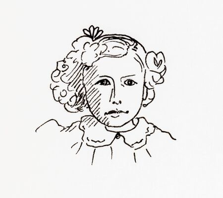 edwardian: Original ink line drawing. Portrait of an Edwardian girl. Hand drawn artwork.