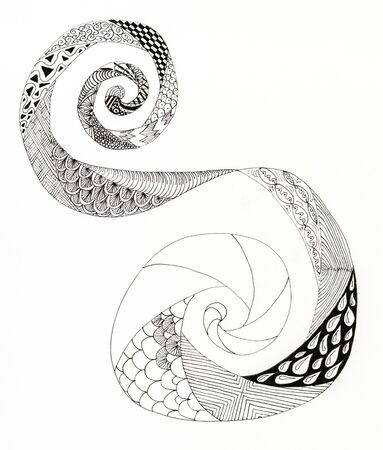 incomplete: Incomplete zentangle swirl. Showing the progress of filling in patterns.