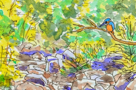 rocky: Art background scene, with kingfisher bird, rocky stream and foliage. Original pen and ink artwork. Stock Photo