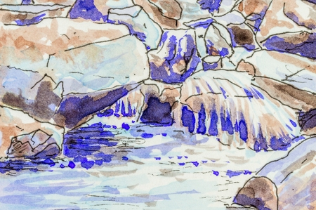 water flowing: Art background of water flowing over rocks in a stream. Original pen and ink artwork. Stock Photo