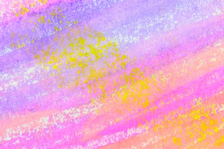 Pastel stripes with yellow, ink wash background. Close up of original artwork. Stock Photo