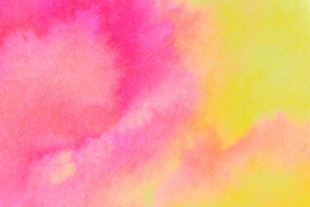 Roze en gele inkt wassen achtergrond. Close-up van de originele kunstwerken. Stockfoto