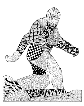 bigfoot: Original ink pen drawing of Bigfoot. Black lines and patterns on a white.background.