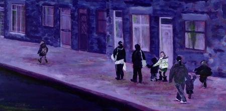 Het originele acryl schilderen van vrouwen en kinderen lopen van school naar huis in de winter. Paarse en roze tinten. roze en blauwe tinten.