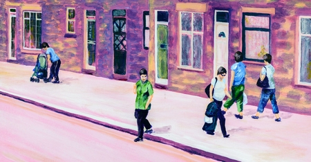 terraced: Original acrylic painting of people on a street in the summer. Purple, pink and green tones.