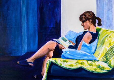 predominantly: Original acrylic painting of a woman sitting in a chair reading. Predominantly blue. Stock Photo