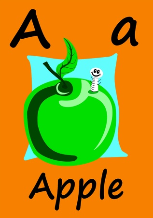 Childs flashcard, learn the alphabet and how to spell. A is for Apple.