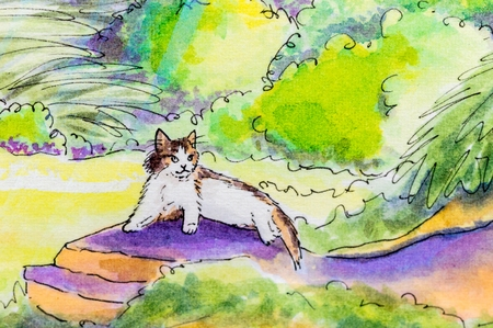 moggy: Original painting of a tabby and white cat lying down on a warm rock in a garden..