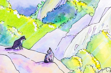 moggy: Original watercolor painting of two cats sitting on a rock in a woodland garden.