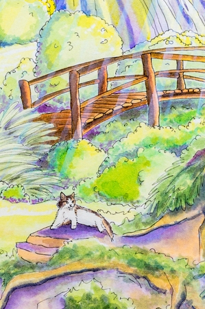 moggy: Original painting of a tabby and white cat lying down in a garden with a bridge.. Stock Photo