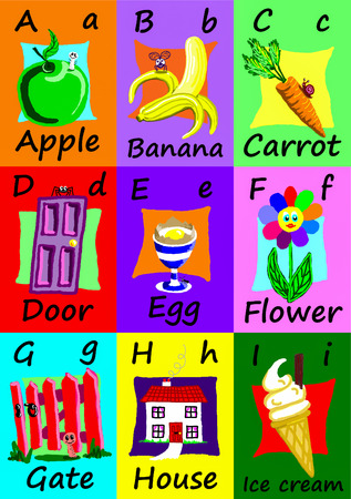 Alphabet flash cards collection, A to I. Naive child like colorful illustrations (A-Z set 1 of 3)