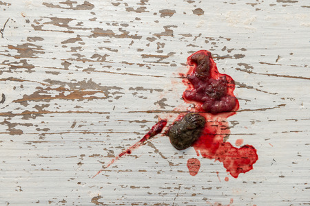 stool blood: Results of colitis (inflammation of the gut) a medical condition in a dog. Blood, mucus and faeces on a rustic white painted wooden floor. Stock Photo