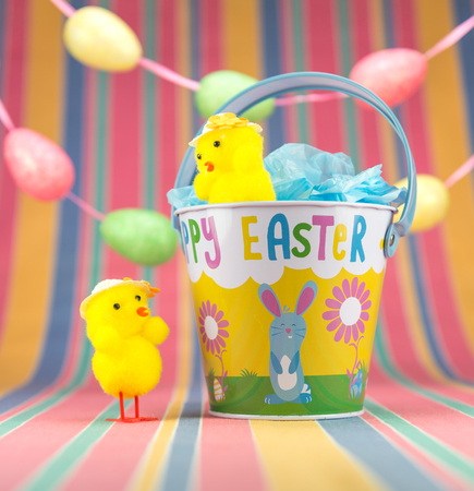 Two Easter chicks appearing to talk to each other, one standing in an enamel bucket. Egg garland and pastel striped background.