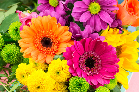 daisys: Pink and orange Transvaal daisys mixed with fresh vibrant brightly coloured florist flowers. Stock Photo